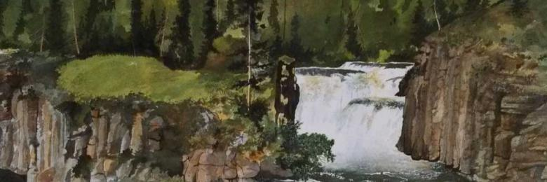 John Griffith Lower Mesa Falls Watercolor Painting